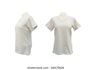 set of female tshirt template on the mannequin on white background