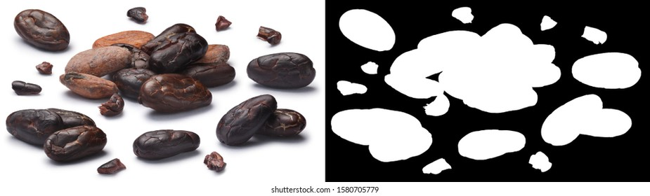 Set of fermented dried cocoa beans (fruits of Theobroma cacao), husked, in pieces, in piles and alone