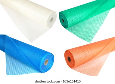 A set of fiberglass netting (reinforcing mesh) rolled up in a roll  for the insulation of walls. Building accesories for reinforcing walls in the process of their warming