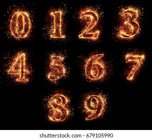 A set of figures (0,1,2,3,4,5,6,7,8,9) spark is isolated on black background