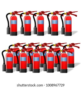 Set of fire extinguishers isolated on white background. Various types of extinguishers.