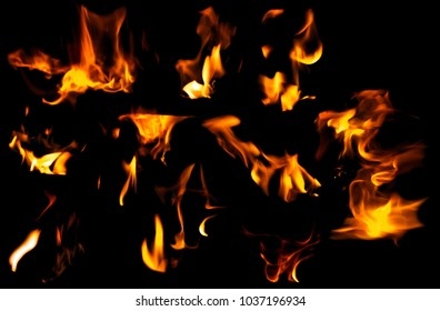 Set of fire flame isolated on a black background texture