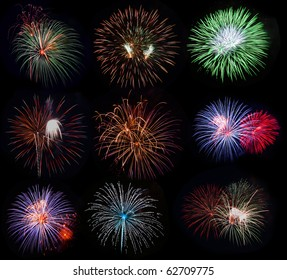 Set of fireworks in different colors and shapes