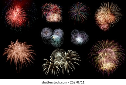 Set of fireworks. Isolated on black for easy extraction.
