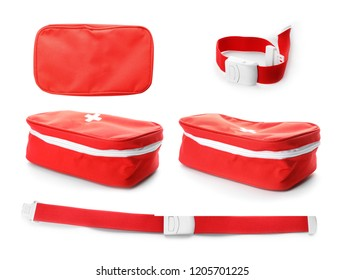 Set with first aid bag and tourniquet on white background. Medical objects