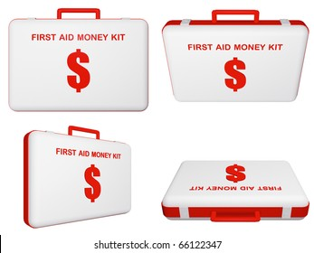 Set of first aid money (dollar) kit on isolated background.