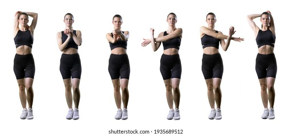 Set of fit active woman stretching arms, wrist and shoulder exercise. Full body isolated on white background.