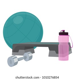 Set of fitness accessories, cartoon illustration of gym equipment for home exercise.