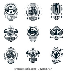 Set and fitness theme emblems and motivational posters created with dumbbells, barbells, kettle bells sport equipment and muscular athlete body silhouettes.