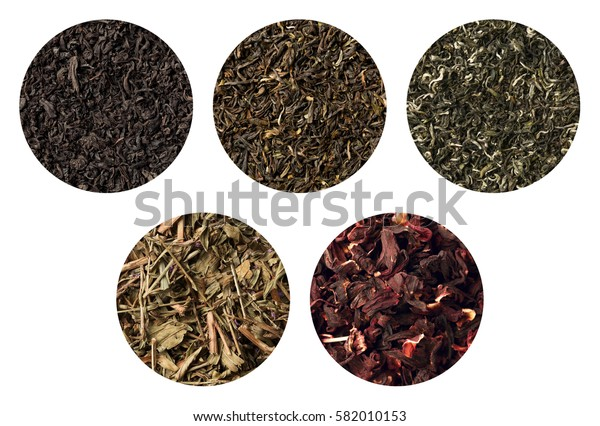 Set of five different tea textures. darjeeling, black , sally, green carcade