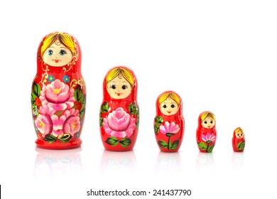 Set of five matryoshka russian nesting dolls isolated on white background