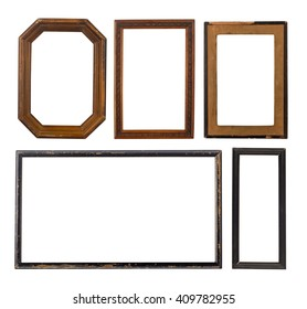 Set of five old wooden frames isolated on white