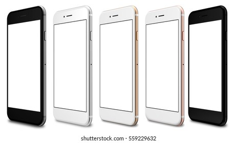 Set of five smartphones gold, rose, silver, black and black polished - blank screen and isolated on white background. 3d rendering.