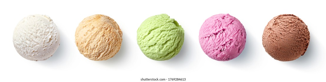 Set of five various ice cream scoops or balls isolated on white background. Top view. Vanilla, strawberry, caramel, pistachio and chocolate flavor