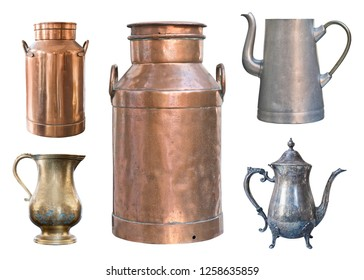Set of five vintage containers. Brass milk cans, aluminum and metal kettles and a copper jug
