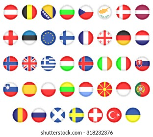Set of Flags of European countries. Icons Flags on a white background.
