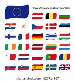 Set the flags of European Union countries isolated on white background, member states in 2016 (Vector version is also available in my portfolio, ID 533119861)