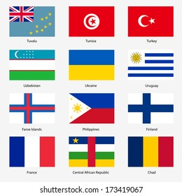Set  Flags of world sovereign states.  illustration. Set number 16. Exact colors. Easy changes.