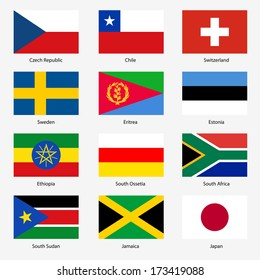Set  Flags of world sovereign states.  illustration. Set number 17. Exact colors. Easy changes.