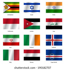 Set  Flags of world sovereign states.  illustration. Set number 6. Exact colors. Easy changes.
