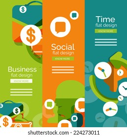 Set of flat design universal web concepts, banners with promo text - business, social and time
