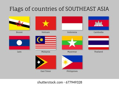 Set of flat flags of members of Asean Economic Community AEC Laos, Thailand and Vietnam, Malaysia and Philippines. Signs of Southeast Asia states