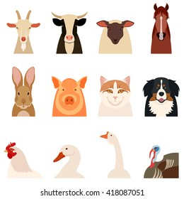 Set of flat icons of farm animals