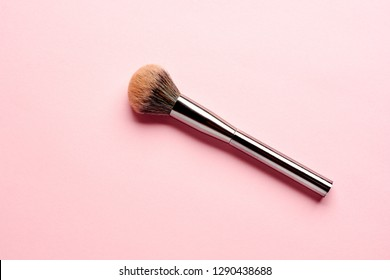 Set of flat top view of professional female cosmetics brush for makeup on pink background, Cosmetics concept, Make up concept, Copy space image for your text.