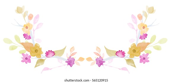 Set of flowers, leaves and branches, painted in watercolor, isolated on white. Sketched wreath, floral and herbs garland. Watercolour style.