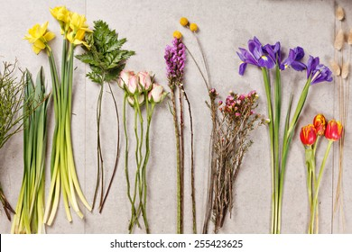 set of flowers for making bouquet with instrument