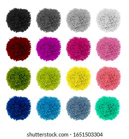 Set of fluffy bright, soft pompons made of yarn. Decor ball of needlework, handmade, soft children's toys. Fluffy soft colored wool pom-pom from threads for knitting yarn.