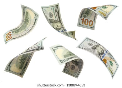 Set of flying 100 dollars banknotes, isolated on white background