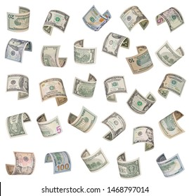 Set of flying dollars bills. Isolated on white background
