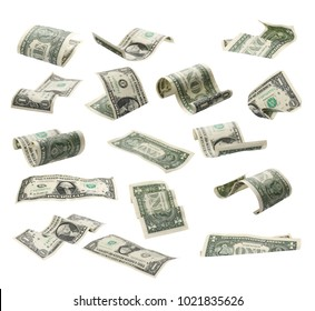 Set of flying one dollars banknotes isolated on white background, with clipping path