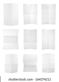 Set of folded A4 paper sheets
