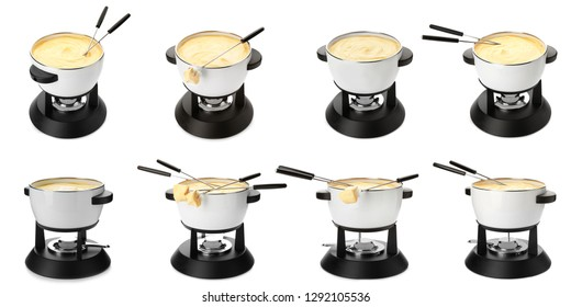 Set of fondue pots with assorted delicious cheeses on white background
