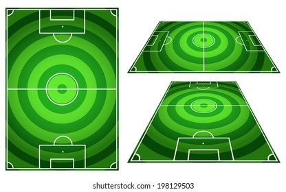 Set of Football or Soccer Fields Circles Striped Background with Vertical and Horizontal Patterns