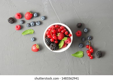 set of forest berries on the table top view.