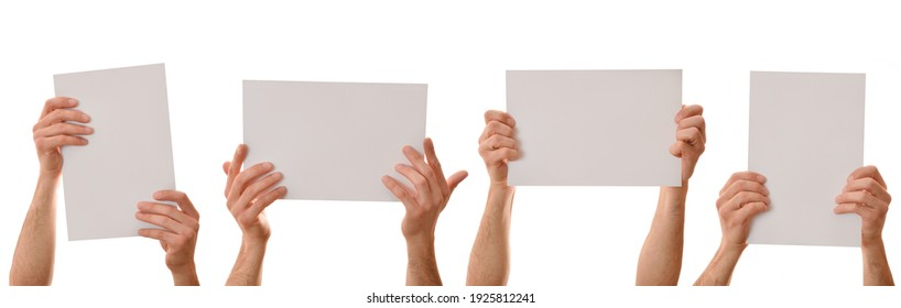 Set of four A4 sheets holding with both hands with white isolated background