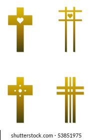Set of four Christian cross illustrations in gold color; isolated on white background