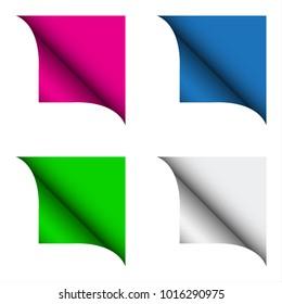 Set of four color curled corner, modern illustration