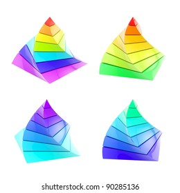Set of four colorful segmented pyramides isolated on white
