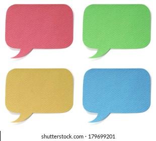 Set of four dialog boxes isolated on white background