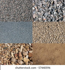 a set of the four different crushed stones cobbles and sands