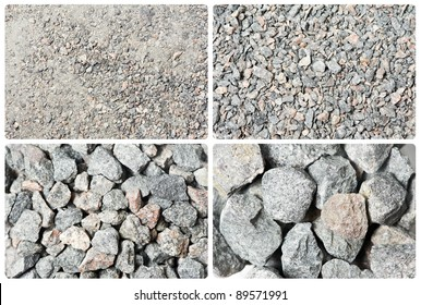 a set of four different crushed stones material textures