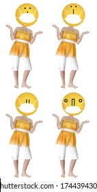 Set of Four Emoji Head Girls Over White wearing Face Mask