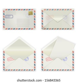 A set of four envelopes with stamps and label. The collection includes a front view, rear view and open the envelope and the envelope with the letter.