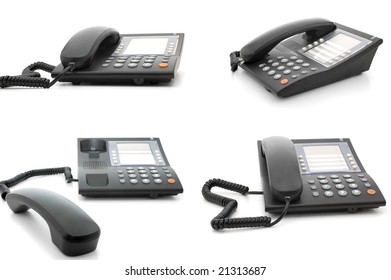 Set of four equal office corded telephones on different angles