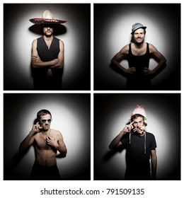 Set of four funny portraits of young man with various types of beard
