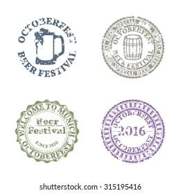 Set of four grunge emblems Oktoberfest
